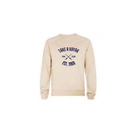 "Beige Sweat-shirt ""TAKE A KAYAK"" - Celine Crew"